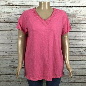 Woman Within Pink Crochet V-neck Shirt T-shirt Top